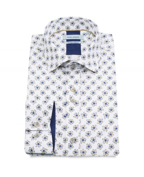Guide London Cotton Stretch Floral Print Shirt White