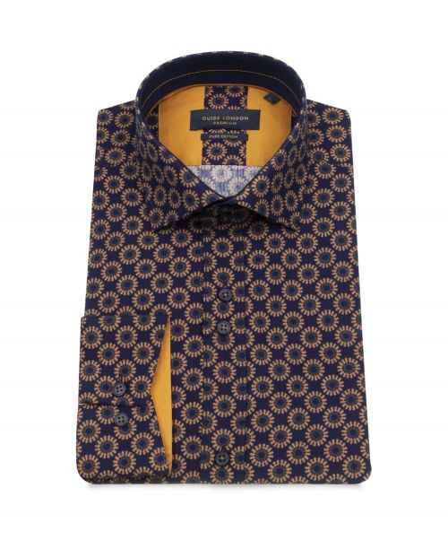 Guide London Navy Helm Wheel Spoke Print Stretch Shirt