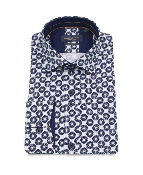 Guide London White Helm Wheel Spoke Print Stretch Shirt