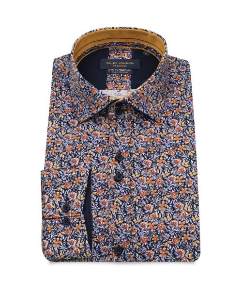 Guide London Orange and Blue Floral Print Shirt