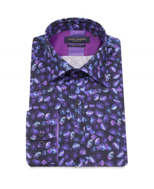 Guide London Cotton Sateen Jellyfish Print Shirt