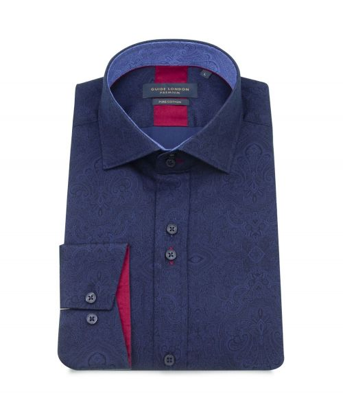 Guide London Navy Plain with Paisley Detail Shirt
