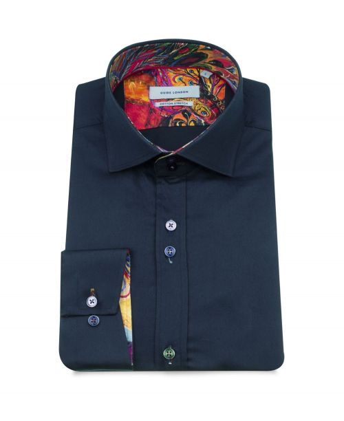 Guide London Navy Plain Detailed Stretch Shirt