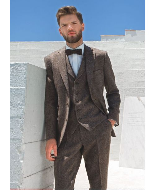 Torre 3 Piece Brown Tweed Suit