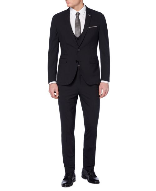 Remus Uomo Slim-Fit Mix n Match 3 Piece Suit Black