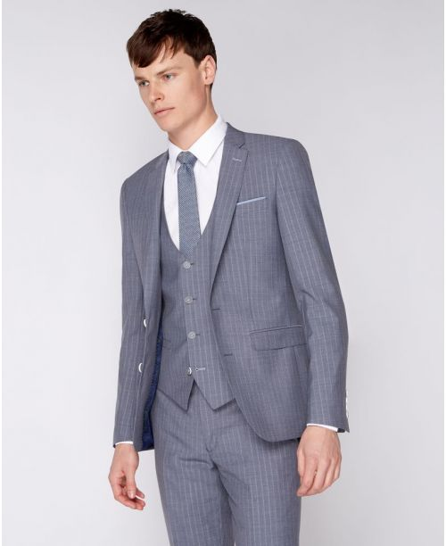 Remus Uomo Slim-Fit Pinstripe Mix n Match 3 Piece Suit Grey