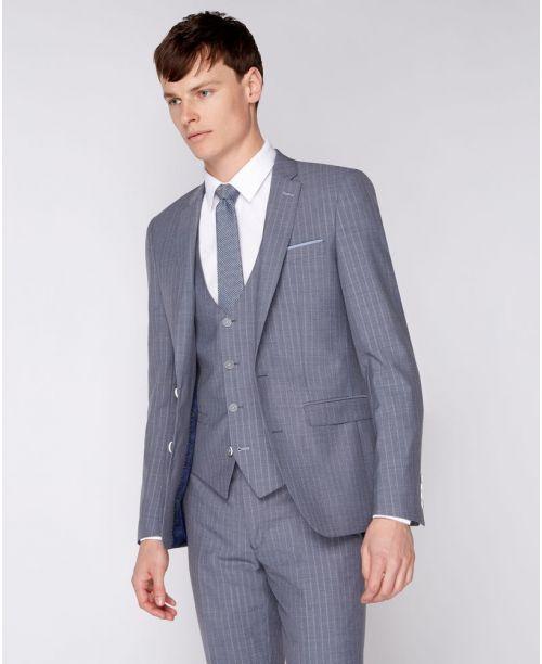 Remus Uomo Slim-Fit Pinstripe Mix n Match 3 Piece Suit Grey