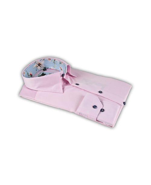 Giordano Brighton LS Button Under Pink with Striped/Floral Trim