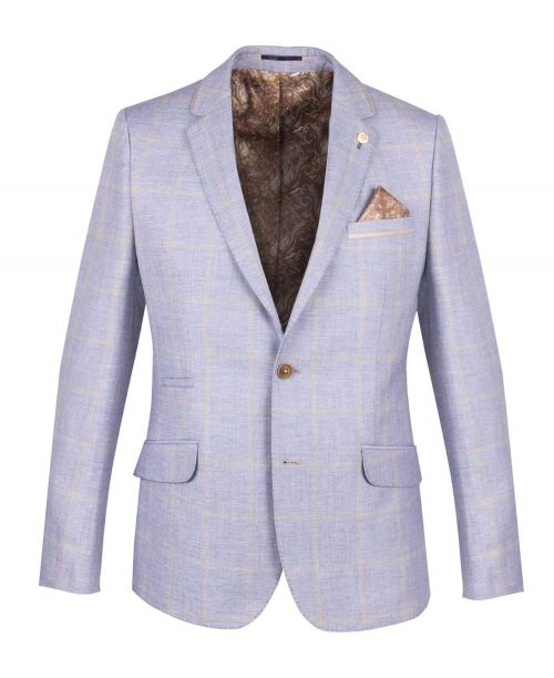 Guide London Linen Blend Check Blazer Blue
