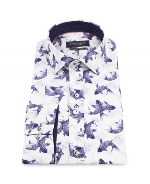 Guide London Cotton Sateen Shirt with Swimming Fish Stencil Print