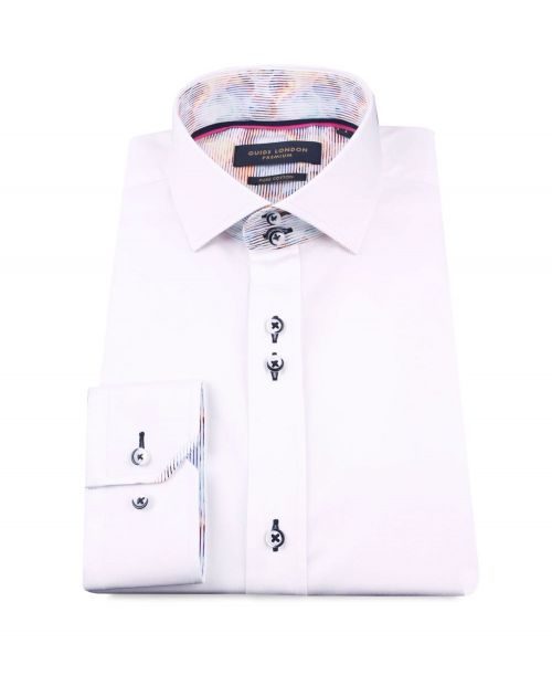 Guide London Cotton Sateen Shirt with Multistripe Collarband White