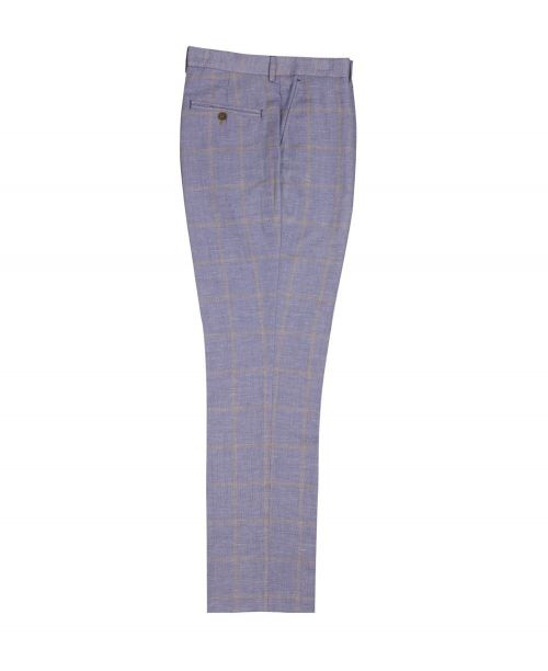 Guide London Linen Blend Check Trousers Blue