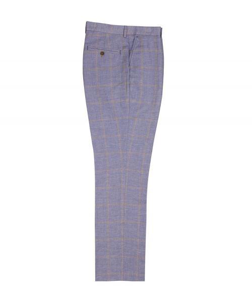 Guide London Linen Blend Check Trousers Blue