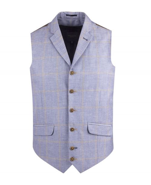 Guide London Linen Blend Check Waistcoat Blue