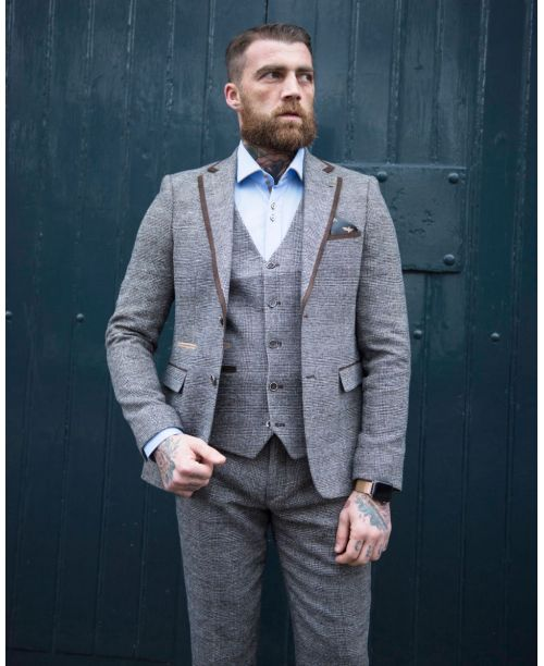Fratelli Uniti Brown Check Tweed 3 Piece Suit