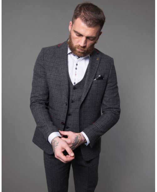 Fratelli Uniti Dark Grey Windowpane Check Tweed 3 Piece Suit