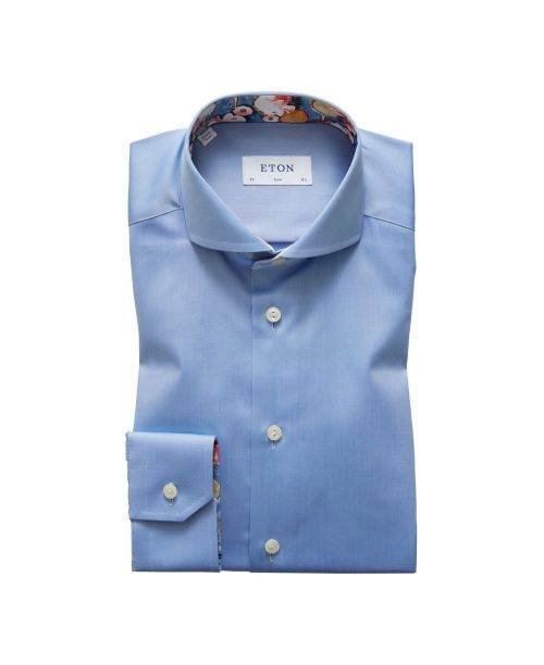 Eton Shirts Signature Twill Sky Blue Slim Fit Shirt with Tennis Print Details