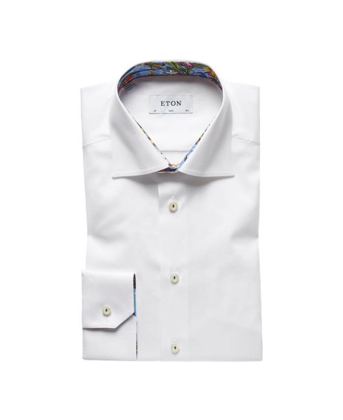 Eton Shirts Signature Twill White Slim Fit Shirt with Floral Details