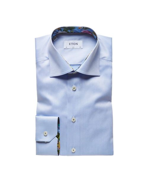 Eton Shirts Signature Twill Sky Blue Slim Fit Shirt with Floral Details