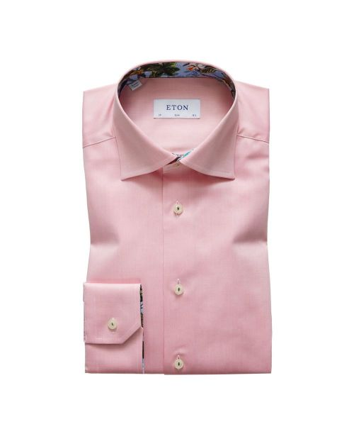 Eton Shirts Signature Twill Pink Slim Fit Shirt with Floral Details