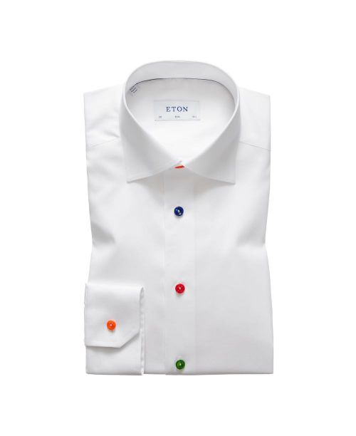 Eton Shirts Signature Twill White Slim Fit Shirt with Bright Buttons