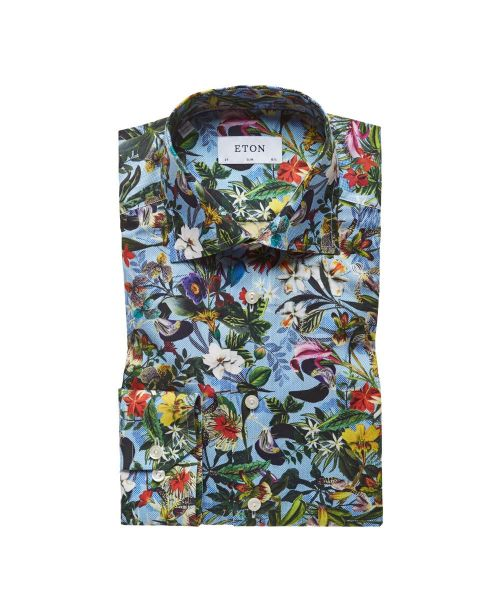 Eton Shirts Signature Twill Floral Design Print Slim Fit Shirt