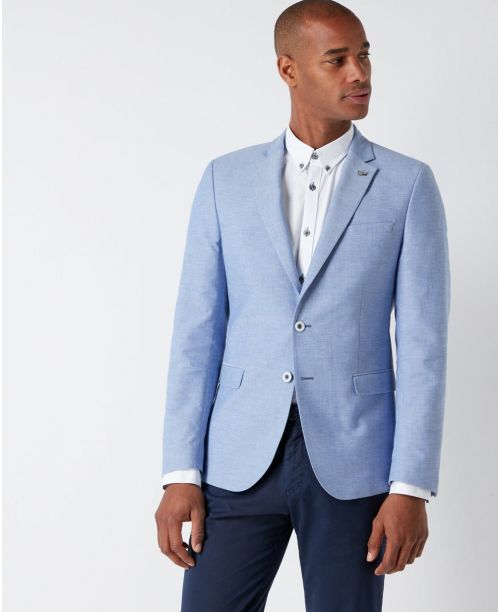 Remus Uomo Slim-Fit Cotton Jacket Sky Blue