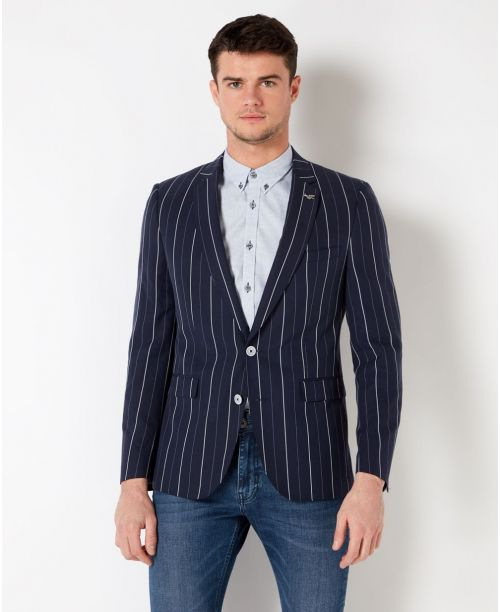 Remus Uomo Slim-Fit Striped Tencel-Linen-Blend Jacket Navy