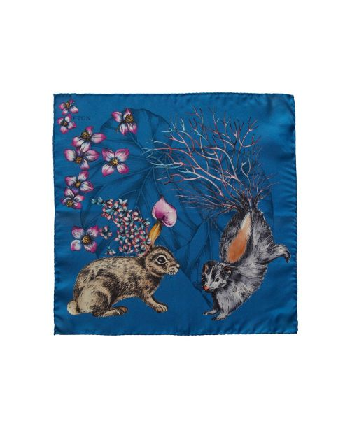 Eton Shirts Blue Hare & Skunk Pocket Square