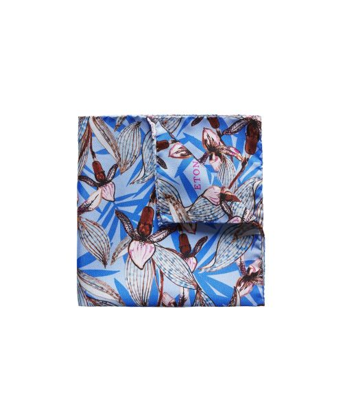 Eton Shirts Blue Floral Print Pocket Square