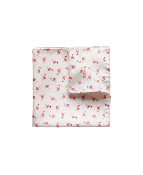 Eton Shirts Flamingo Ice-Cream Print Pocket Square