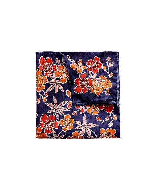 Eton Shirts Navy Flower and Leaf Print Pocket Square