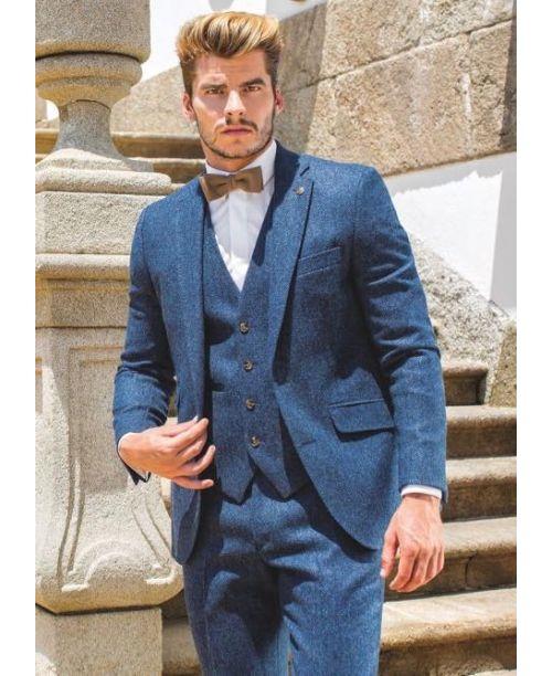Torre 3 Piece Blue Herringbone Tweed Suit