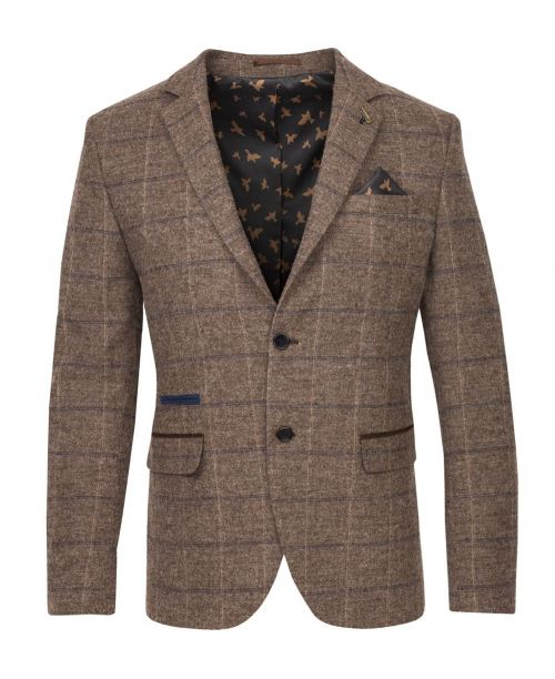 Fratelli Uniti Traditional Windowpane Check Jacket Tan