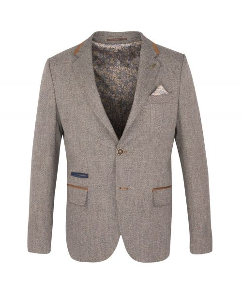 Fratelli Uniti Herringbone Tweed Jacket Tan