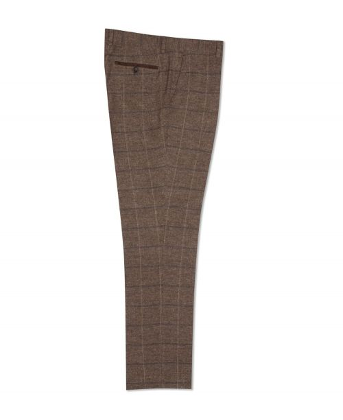 Fratelli Uniti Traditional Windowpane Check Trousers Tan