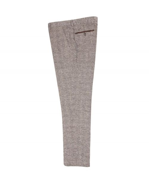 Fratelli Uniti Brown Check Cotton Blend Trousers