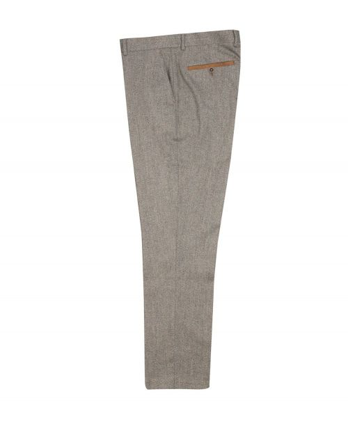 Fratelli Uniti Herringbone Tweed Trousers Tan