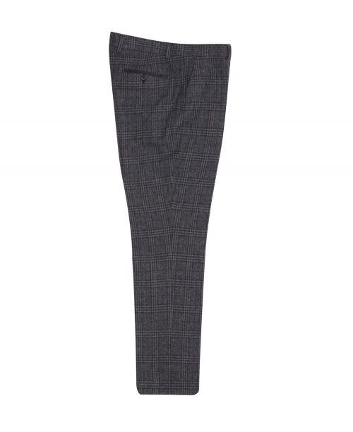 Fratelli Uniti Dark Grey WindoWpane Check Cotton Blend Trousers