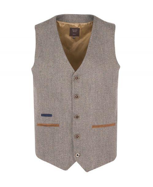 Fratelli Uniti Herringbone Tweed Waistcoat Tan