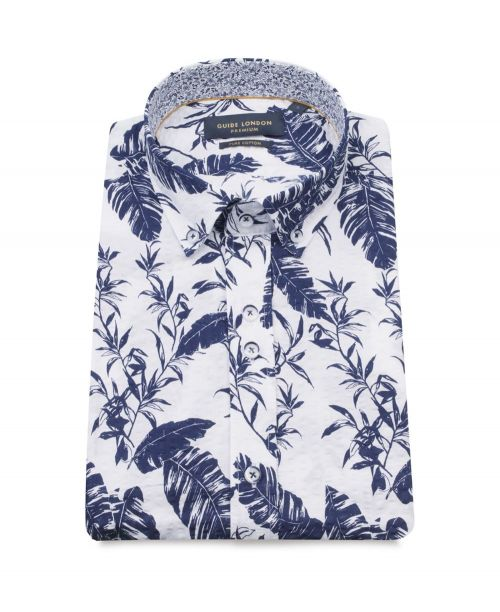Guide London S/S Shirt with Leaf Print White/Navy