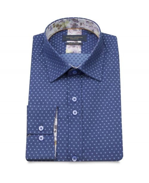 Guide London Shirt Dot Print Shirt Navy