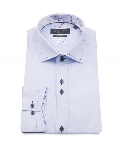 Guide London Shirt with Stitching Detail Sky