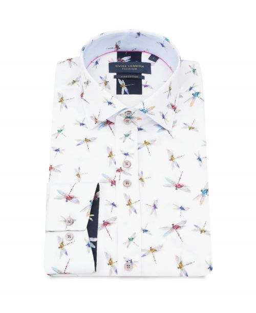Guide London Pure Cotton White Shirt with Dragonfly Print