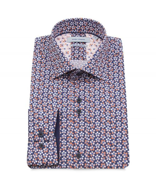 Guide London Cotton Stretch Floral Print Shirt