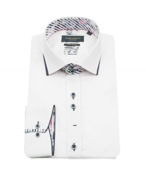 Guide London Cotton Sateen Shirt with Candystripe White
