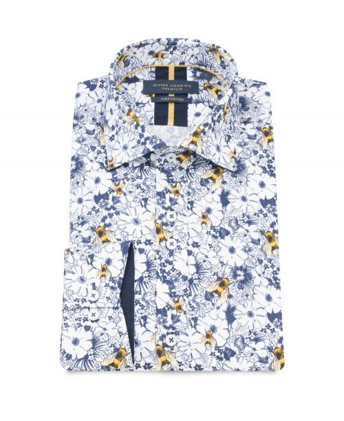 Guide London Pure Cotton Floral Print Shirt White/Blue