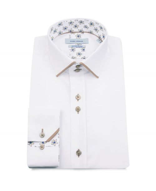 Guide London Cotton Blend Shirt with Beige Flower Detail
