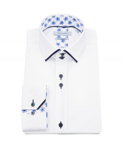 Guide London Cotton Blend Shirt with Blue Flower Detail