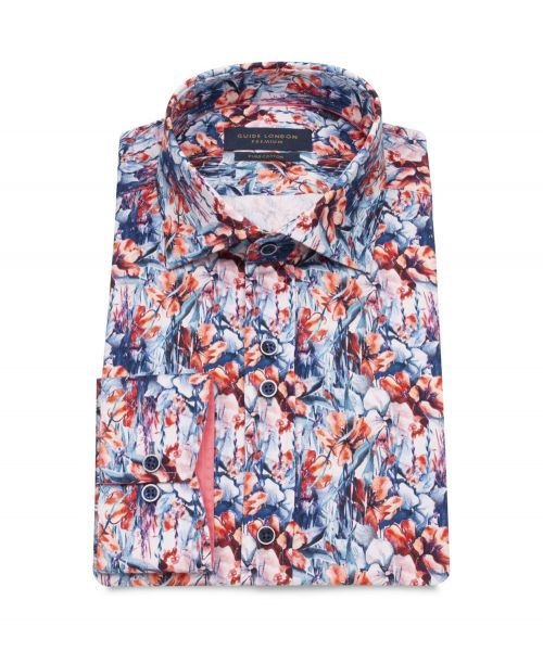 Guide London Cotton Sateen Shirt with Floral Print Pink/Blue